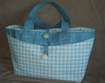 Summer Daytripper Bag - aqua sand cream plaid - vacation tote - shopping day tripper - oversized weekender carryall - career bag