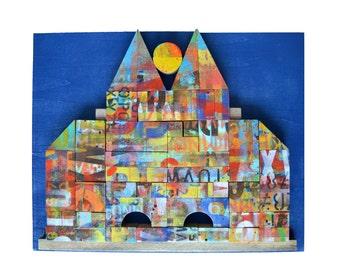 ALPHABET CITY, 16x20 original, grafitti art, painted blocks, original assemblage, wood wall art, by Elizabeth Rosen