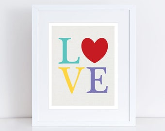LOVE heart print, colourful kids nursery art, childrens art, baby girl boy gender neutral wall art multi-colored red word - rainbow bright