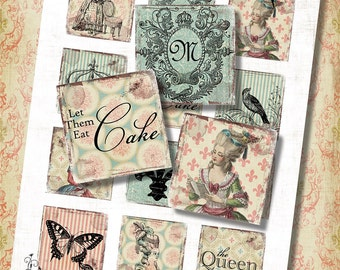 """Marie The Queen 2"""" Squares for Shabby ViNtAGe JeWelRY AlTerED ArT Crown Cake Pink Blue"""