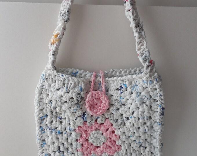 Crochet Pink and White Purse - Plarn - Handmade - Crochet - Ready to Ship