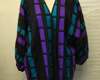 Cotton Woven Jacket Vintage 1980s Coat top Yakmagic Women's size