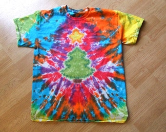 Christmas Tree Tie Dye T-shirt - Made to Order - Rainbow - ADULT size Sm, Med, Lg, XL, 2X