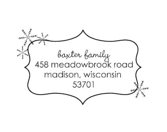 snowflake frame rubber address stamp