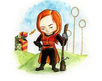 Ginny Weasley Fan Art Watercolor Print