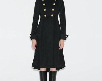 Military Coat, Brass buttons coat, black military coat, coats, womens coats, maxi coat, long coat, jacket, wool coat, Asymmetrical coat C664