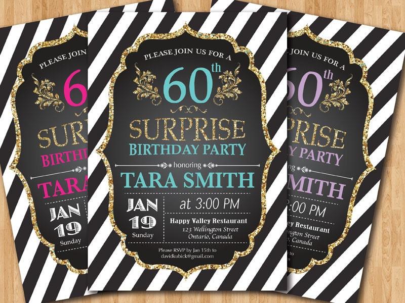 60th birthday invitation. Surprise Birthday. Gold Glitter