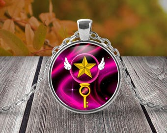 Card Captors Fan art Necklace - Sakura staff key