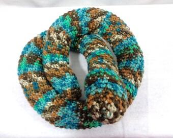 Snake Door Draft Stopper, Toy Snake, Crochet Brown, Teal and Green Snake, Window Draft Stopper by CrochetedbyCharlene, Gift for Dad or Mom