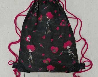 Bag Gymbag backpack emo love sport bag bats bat Pink Black