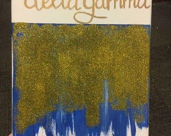 Blue and Gold Sparkles Delta Gamma Canvas