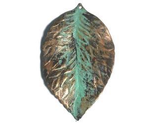 Hand Painted Hibiscus Brass Pendant