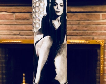 EARTHA KITT - BlackSuede Memorial Candle for Eartha Kitt.  Hand-decorated glass.
