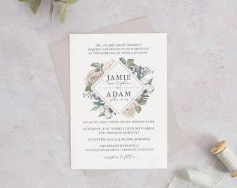 Printable or Printed Romantic Garden Wedding Invitation