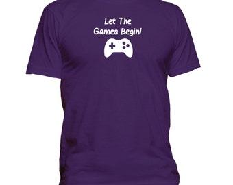 Let The Games Begin! Gaming. T-shirt. Premium quality. Ringspun soft.