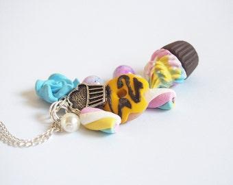 Cibo collana collana carino (cibo polimero argilla cibo in miniatura marshmallow collana cupcake collana ad anello collana)