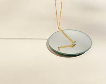 Minimal Gold Bar Necklace, Long Gold Bar Necklace, Simple Geometric Necklace, Simple Long Gold Necklace, Gold Mens Necklace | THE HALT