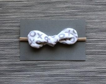 XOXO Knot Bow Headband | Baby Bow | Nylon Headbands | One Size Fits All | Upcycled Material