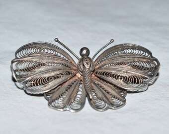 Vintage Brooch - Silver-Tone Filigree Butterfly, C-Clasp, 1920s