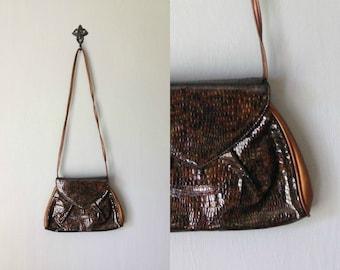Vintage BRONZE Purse •1990s Shoulder Bag •Trapezoid Structured Shape Envelope Clutch Faux Brown Leather •Detachable Long Shoulder Strap