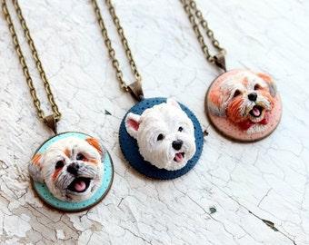 Pet portrait, custom dog portrait, custom dog jewelry, personalized pet jewelry, custom dog sculpture, polymer clay dog, custom pet picture
