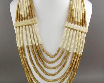 Multi Strand Boho Bone Bead Necklace, Festival Wear, Bib, Statement Necklace, Coachella, Hippie, Vintage Jewelry, Carved Bone, Ethnic,Tribal