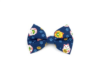 Blue Money Neko Bow Tie - Attachable Bow Tie for Dogs & Cats