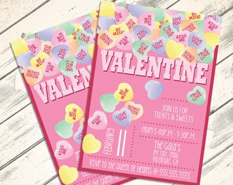 Conversation Heart Valentine Invitations - Valentine Party, Conversation Hearts, Self-Editing | DIY Editable Text INSTANT DOWNLOAD Printable
