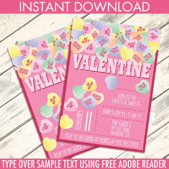 Conversation heart valentine invitations valentine party conversation heart valentine invitations valentine party conversation hearts self editing diy editable text instant download printable stopboris Choice Image