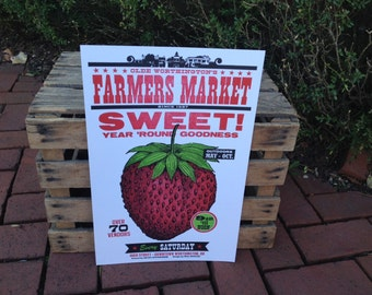 "Farmer's Market ""Sweet"" Strawberry Letterpress Poster"