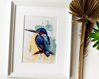 Kingfisher Blue and Yellow Painting Bird Print on Fine art Paper or Canvas