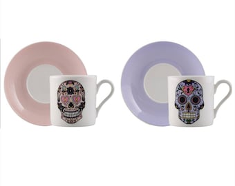 Set of Skullhead Espresso Cup, Ceramic Cappuccino Cup, Porcelain, Gift, Coffee Cup, Tea Cup