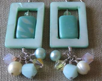 Mint Rectangular Cluster Dangle Earrings