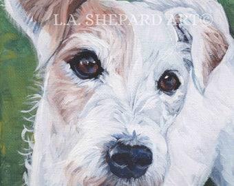 "PARSON RUSSELL Terrier dog portrait art canvas PRINT of LAShepard painting 12x12"""
