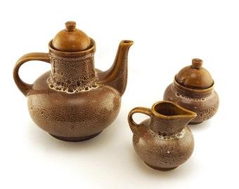 Coffee tea set. Coffee  pot, Milk jug, Sugar pot. Brown glazed Jade. Mirostowice ceramics Poland NEFRYT Mi. Polish ceramic. Mid Century