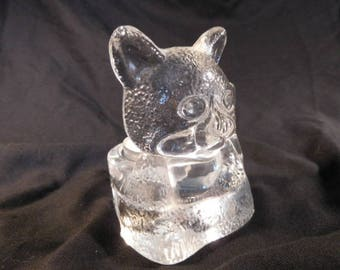 Beautiful Glass Cat Figure Votive Candle Holder