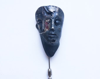 Sterling Silver Two Face Dark Patina Pin