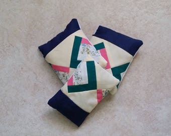 Patchwork Quilt Real Lavender Filled Sachet Yellow Green Pink Blue Set of Three Handmade