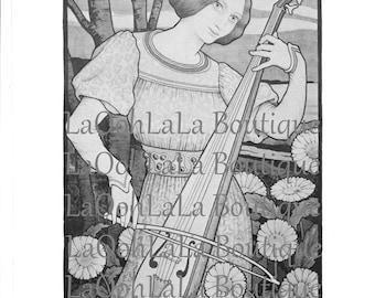 1899 La Viole de Gambe & 1900 L'Ermitage Paul Berthon Art Nouveau Goddess Vintage Black and White Viola Violin Musician Violinist Gift Decor