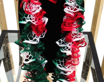 Red White and Green Hand Knit Ruffle Scarf