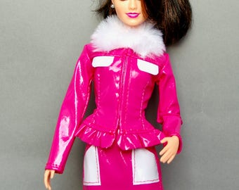 Barbie clothes - Barbie skirt, Barbie jacket - Barbie suit, Barbie doll clothes, Barbie leather jacket