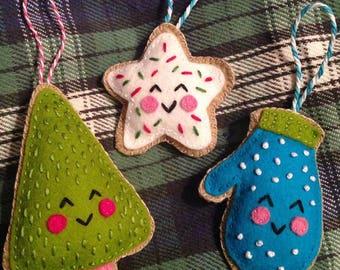 Sugar Cookie Trio Christmas Ornaments
