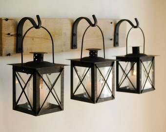 Black Lantern Trio Wall Decor, Home Decor, Rustic Decor, hanging from wrought iron hooks on wood board