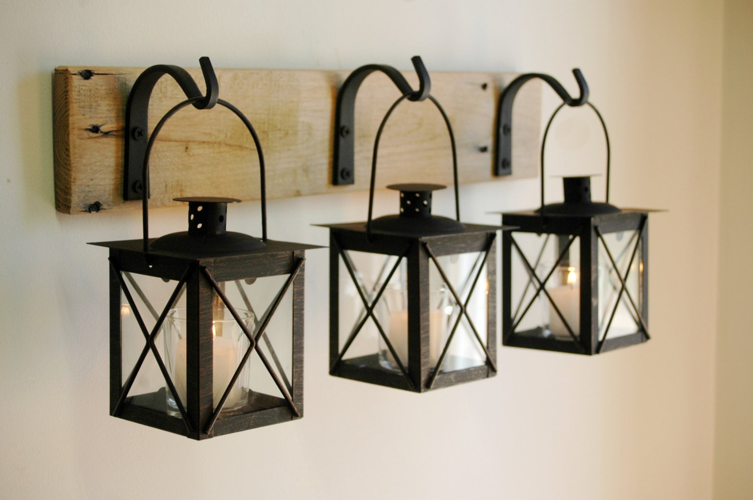 Long Wrought Iron Wall Decor Black Lantern Trio Wall Decor Home Decor Rustic Decor