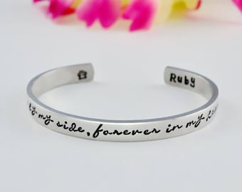 Once by My Side, Forever in My Heart - Hand Stamped Cuff Bracelet, Pet Memorial Name, Dog Paw Print, Personalized Pets Owner Gift