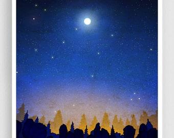The secret of the night forest (vertical) - Art Illustration Print Poster Home decor Nature art Kids wall art Blue Night sky Moon Cobalt