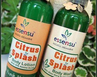 Citrus Splash Satin Body Wash , Botanical Body Lotion and Deluxe Bath Sponge Spa Gift Set | Vegan | No Sulfates | Gift for Her  - 4 oz each