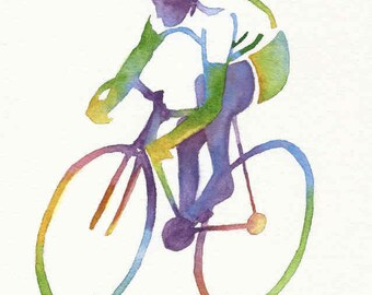 Bicycle Art, Bike Art, Bike Racer Print, Bicycle Wall Art, Bicycle Print, Bicycle Painting, Cycling Gifts, Father's Day Dad Gift, Sport Gift