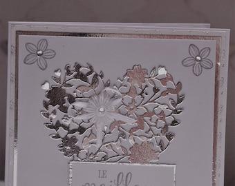 Card congratulations engagement engraved heart