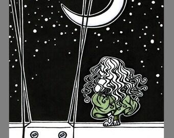 5x7 inch gnome woman steampunk airship night fantasy art print, Stars
